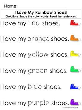 Color Words: Trace and Write Sentences FREEBIE