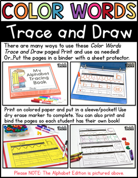 Color Words Tracing (Print and D'Nealian)