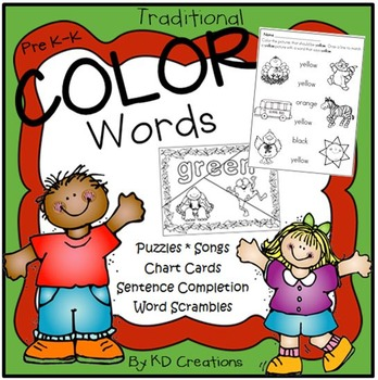 Color Words Activities for Kindergarten * Songs * Matching * Charts Cards