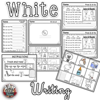 Color Words: WHITE{sight words, simple sentences, vocabulary, writing}