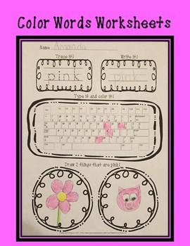 Color Words Worksheets!