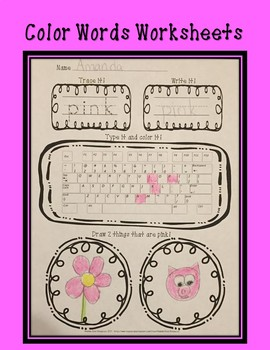 Color Words Worksheets!