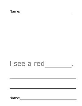 Color Words Writing Book using HFW I, see, like, a, my