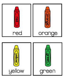 Color Words Writing Center Picture Cards