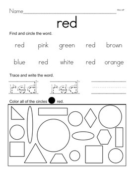 Color Words and Plane Shapes
