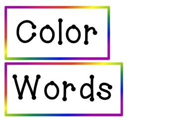 Color Words for Pocket Chart or Word Wall