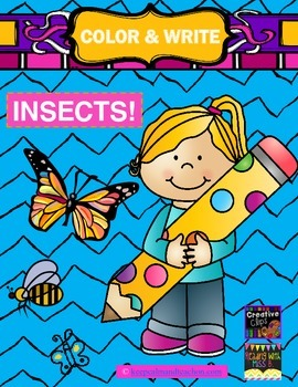 Color & Write Insects (butterfly, ant, grasshopper, bee)