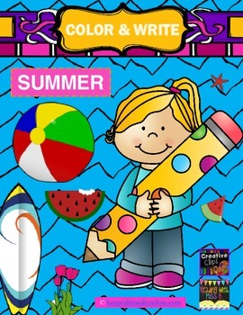 Color & Write Summer (vacation, watermelon, sand castle, beach ball, bicycle)