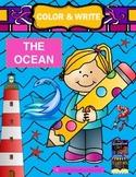 Color & Write The Ocean / Sea (sea turtle, shark, octopus,