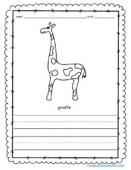 Color & Write Zoo Animals (bear, kangaroo, giraffe, seal, bear, monkey, gorilla)