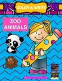 Color & Write Zoo Animals (bear, kangaroo, giraffe, seal,