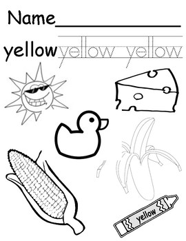 Color Yellow Coloring/Tracing Page