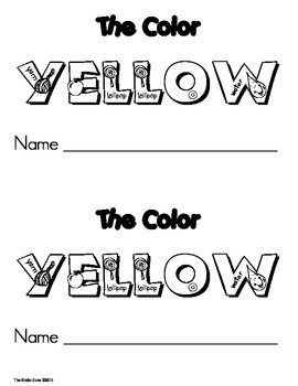 Color Yellow Emergent Leveled Reader Book ** Perfect for Read to Self