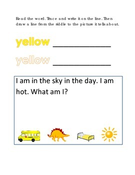 Color Yellow Reading Riddles Word Clues Emergent Reader In
