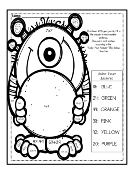 Color Your Answer: Multiplication, Addition & Subtraction