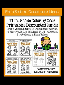Color By Numbers Third Grade Math Add + Sub Within 1000 an