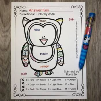 Color By Number Funky Owl Addition Subtraction Multiplication Division Bundle