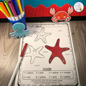 Color By Code Ocean Addition, Subtraction, Multiplication and Division Bundle