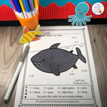 Color By Number Ocean Fun Addition Subtraction Multiplication & Division Bundle