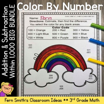 3rd Grade Go Math Chapter One Addition & Subtraction Within 1000 Color By Number
