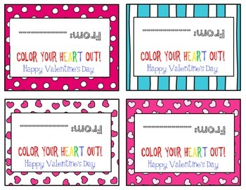 Color Your Heart Out Valentine- Crayon Valentines