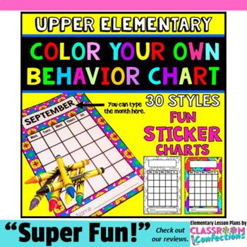 Sticker Charts: Behavior Management: Behavior Incentive: Coloring