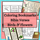 Color Your Own Bookmarks with Bible Verses Flowers and Birds