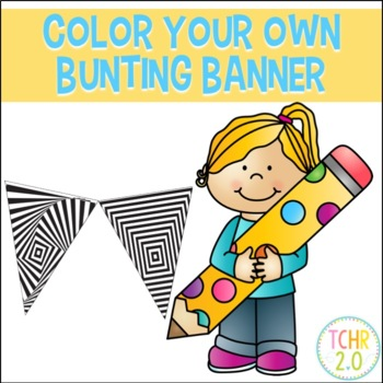 Color Your Own Bunting Banner Optical Illusions