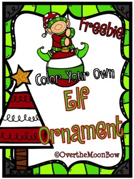 Color Your Own Elf Ornament ~ Freebie
