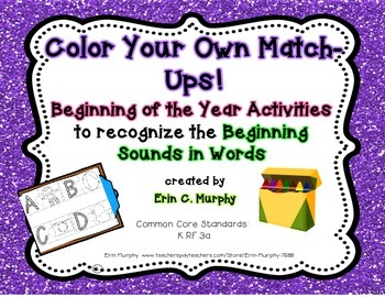 Color Your Own Match-Ups! Beginning Sound Puzzle Pieces