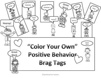 Color Your Own Positive Brag Tags