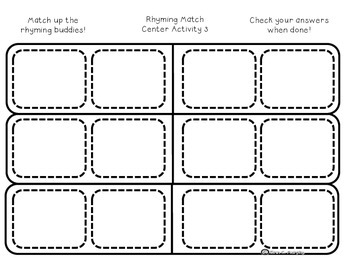 Color Your Own Rhyming Word Match Up