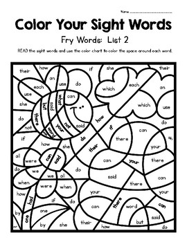 Color Your Sight Words!  Contains The First 100 Fry Words