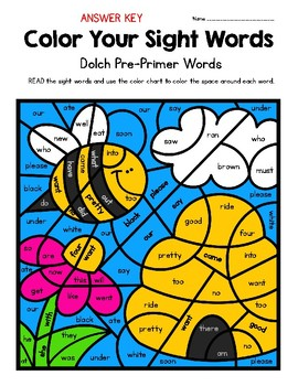 Color Your Sight Words!  Contains all 40 Dolch Pre-Primer Sight Words
