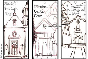 Color a  California Mission - Three Mission Bookmarks