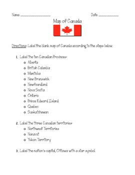 Color a Map of Canada!