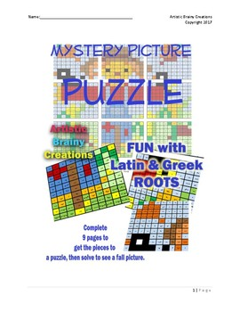 Color a Mystery Picture PUZZLE with Roots, Prefixes and Suffixes