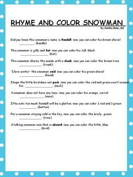 Color a Rhyme Snowman