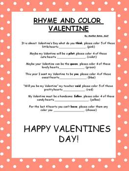 Color a Rhyme Valentine