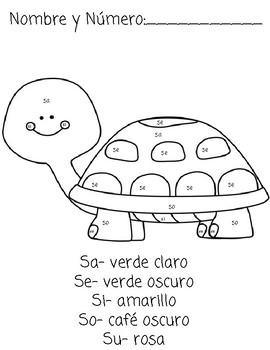 Color a Syllable in Spanish (M,P,S,T)