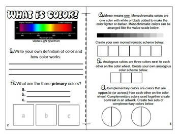Color and Color Theory Burrito Book Elements of Art Handout Printout Activity