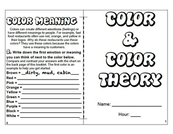 Color and Color Theory Burrito Book Elements of Art Handou