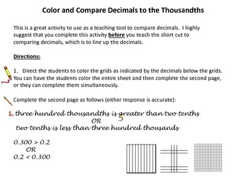 Color and Compare Decimals to the Thousandths