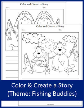 Color and Create a Story - Fishing Buddies - NO PREP