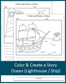 Color and Create a Story (Lighthouse / Giraffe / Ship) NO PREP