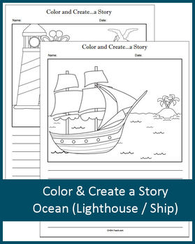 Color and Create a Story (Lighthouse / Giraffe / Ship) NO PREP