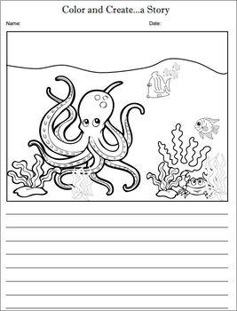 Color and Create a Story - Sea Life - NO PREP