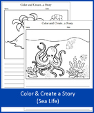 Color and Create a Story - Sea Life - NO PREP
