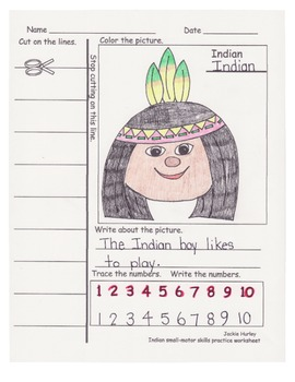 Color and Cut Independent Worksheet Kindergarten - First Fall Theme