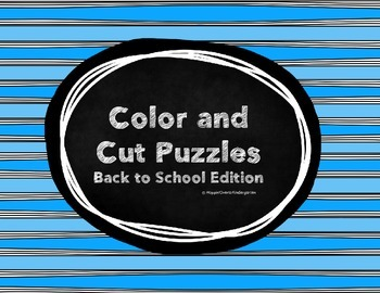 Color and Cut Puzzles - Back to School
